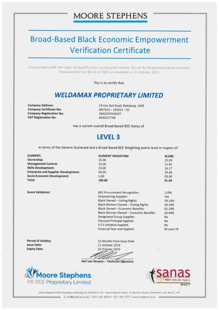Weldamax BBBEE Certificate - Level 3 2019/2020
